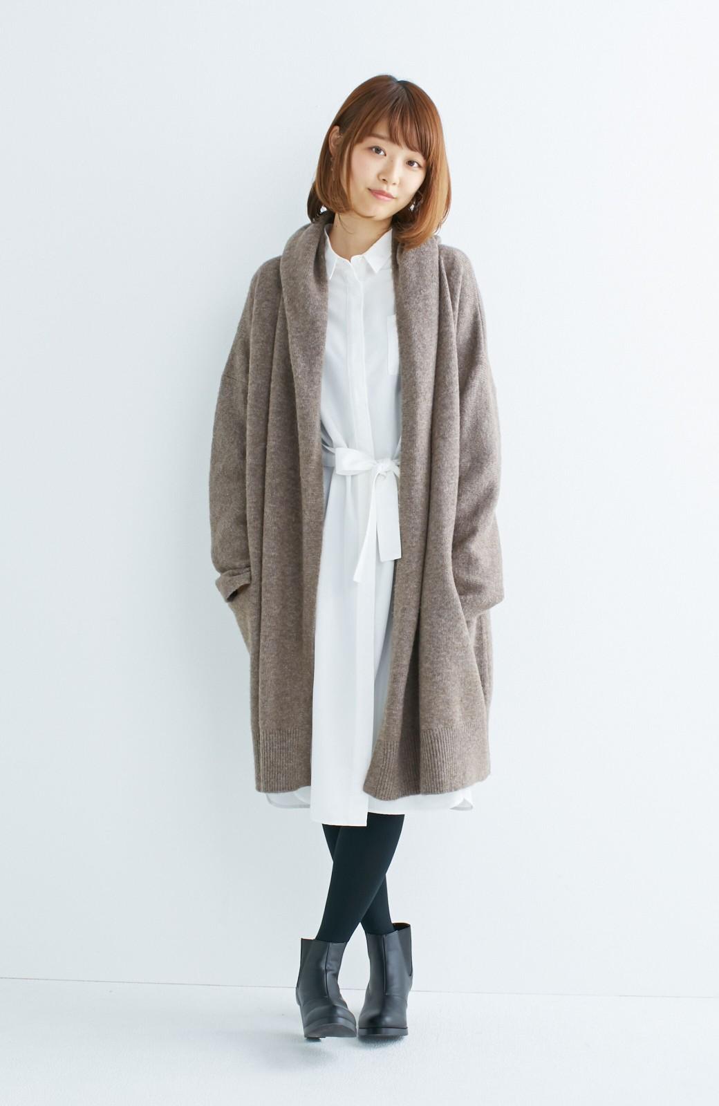 エムトロワ ぱっと羽織るのに便利な軽くてあったかいニットガウンコート <ブラウン>の商品写真9