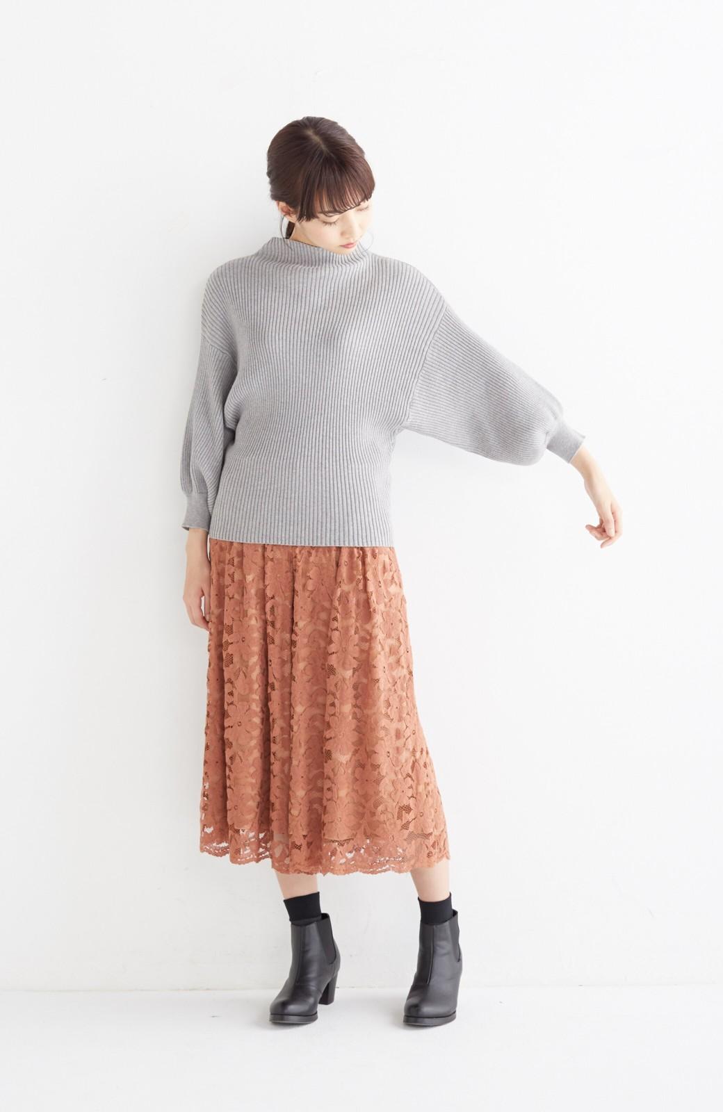 エムトロワ PBP 素肌に贅沢 カシミア混のオーガニックコットン袖ぷっくりリブニット <杢グレー>の商品写真4