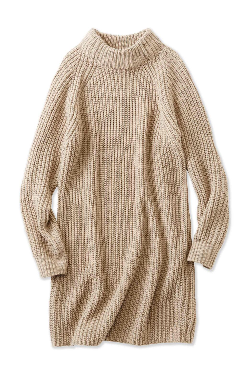 エムトロワ 重ね着もかわいいざっくりニットワンピース <ベージュ>の商品写真1