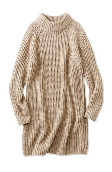 エムトロワ 重ね着もかわいいざっくりニットワンピース <ベージュ>の商品写真