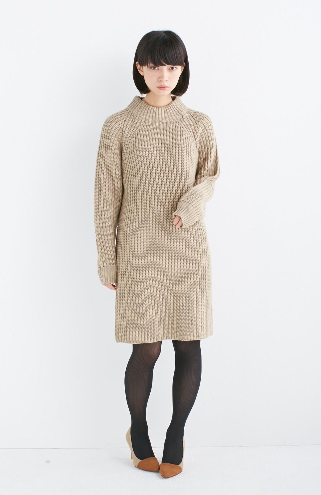 エムトロワ 重ね着もかわいいざっくりニットワンピース <ベージュ>の商品写真3