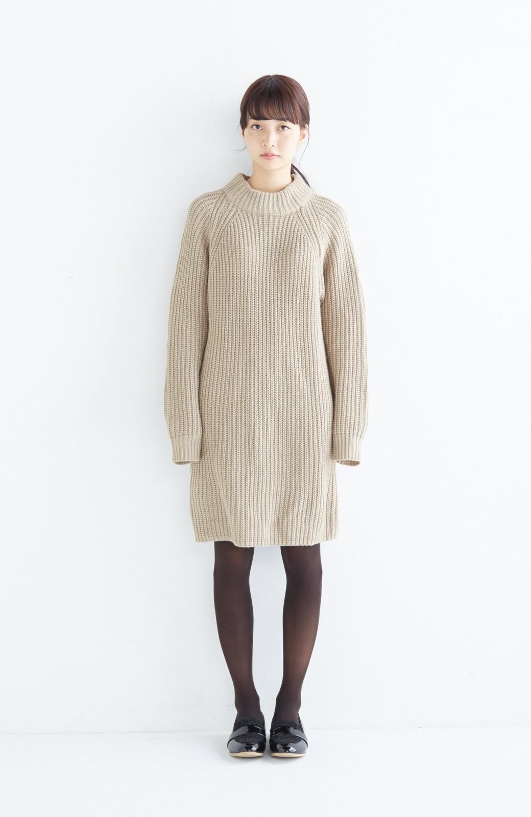 エムトロワ 重ね着もかわいいざっくりニットワンピース <ベージュ>の商品写真5