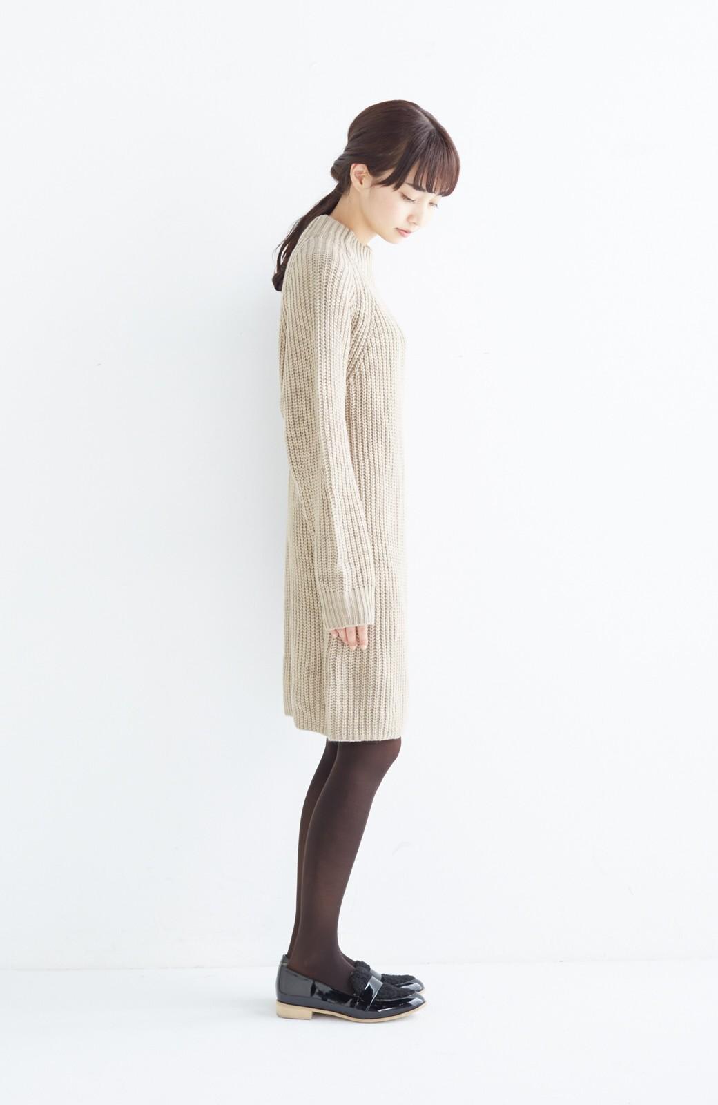 エムトロワ 重ね着もかわいいざっくりニットワンピース <ベージュ>の商品写真7