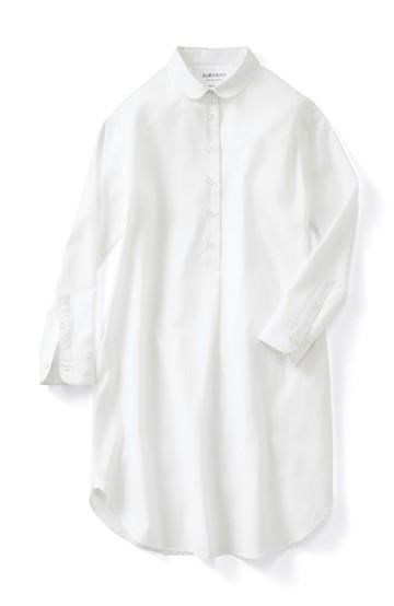 エムトロワ シンプルシックな丸衿シャツワンピース <ホワイト>の商品写真