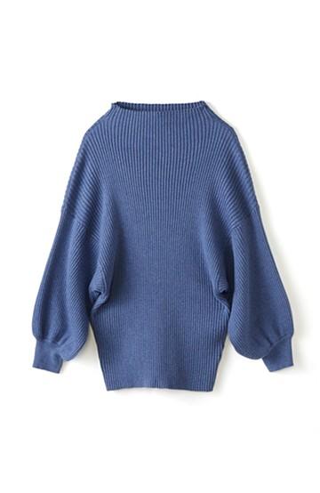 エムトロワ PBP 素肌に贅沢 カシミア混のオーガニックコットン袖ぷっくりリブニット <ブルー>の商品写真