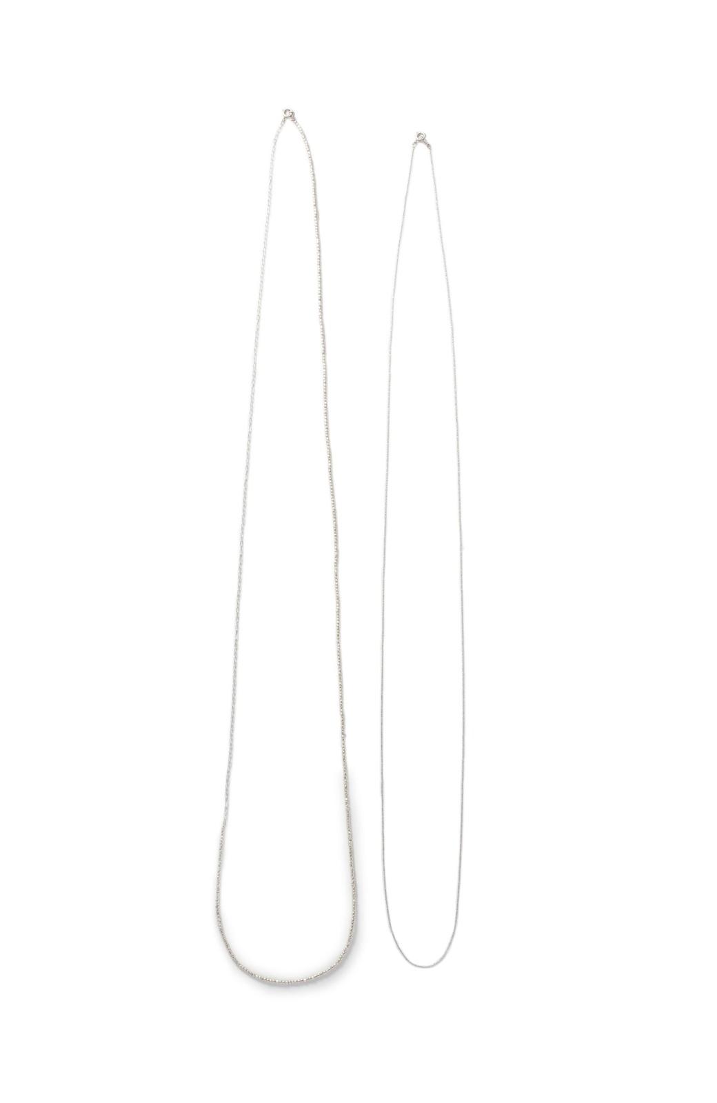 haco! 華奢なチェーン&シックなビーズのロングネックレスセット <シルバー>の商品写真2