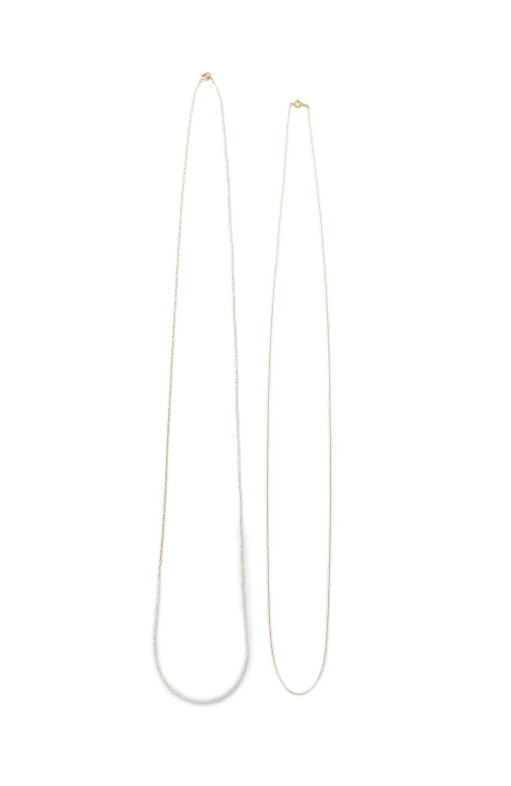 haco! 華奢なチェーン&シックなビーズのロングネックレスセット <ゴールド>の商品写真2