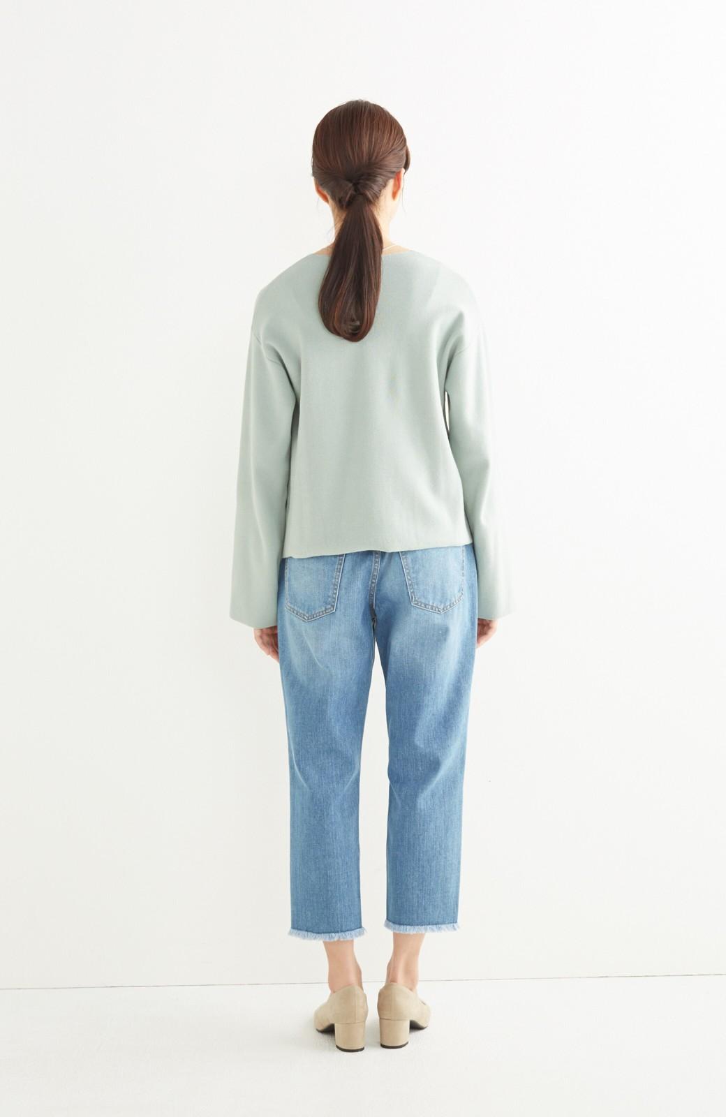 エムトロワ パッと着るだけでいい感じになれる きちんと見えて長い季節使えるミラノリブニット <ミント>の商品写真6