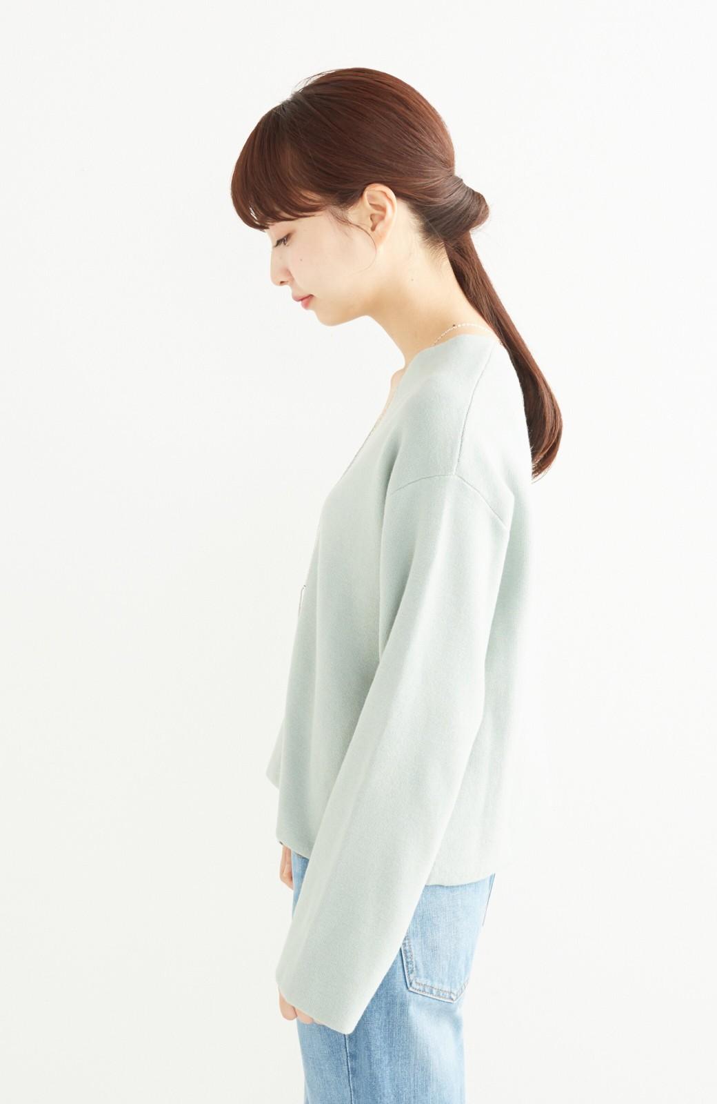 エムトロワ パッと着るだけでいい感じになれる きちんと見えて長い季節使えるミラノリブニット <ミント>の商品写真9