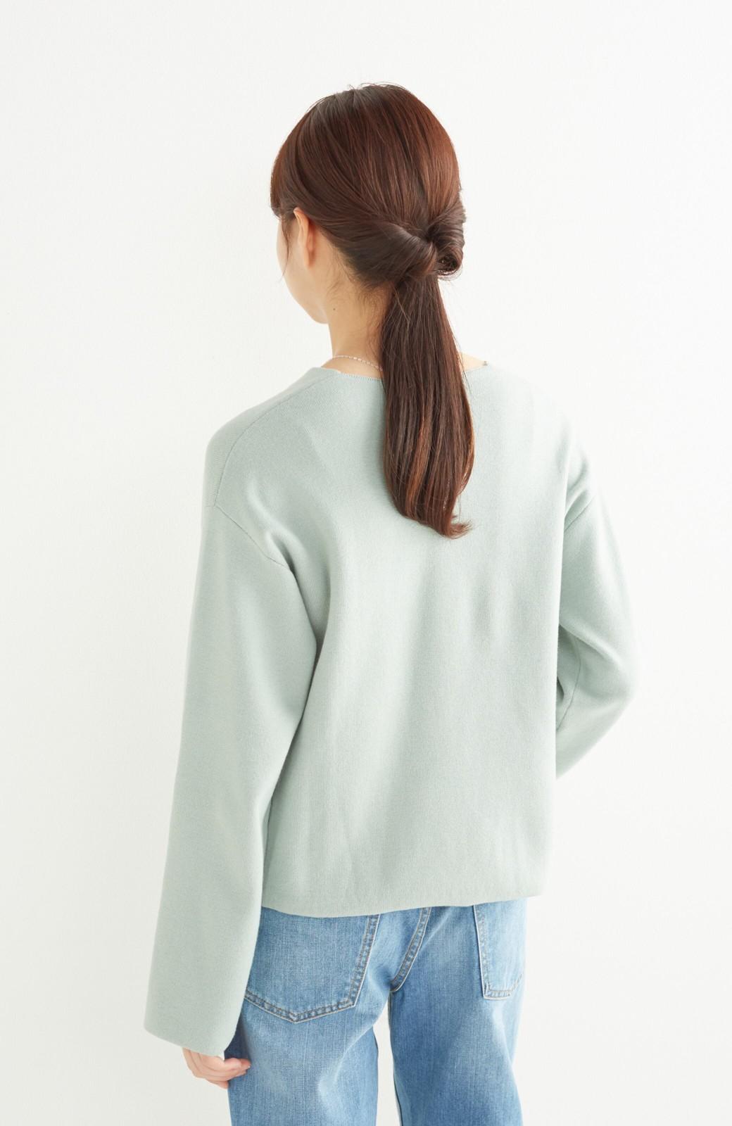 エムトロワ パッと着るだけでいい感じになれる きちんと見えて長い季節使えるミラノリブニット <ミント>の商品写真10