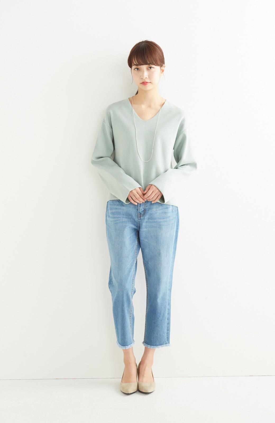 エムトロワ パッと着るだけでいい感じになれる きちんと見えて長い季節使えるミラノリブニット <ミント>の商品写真3