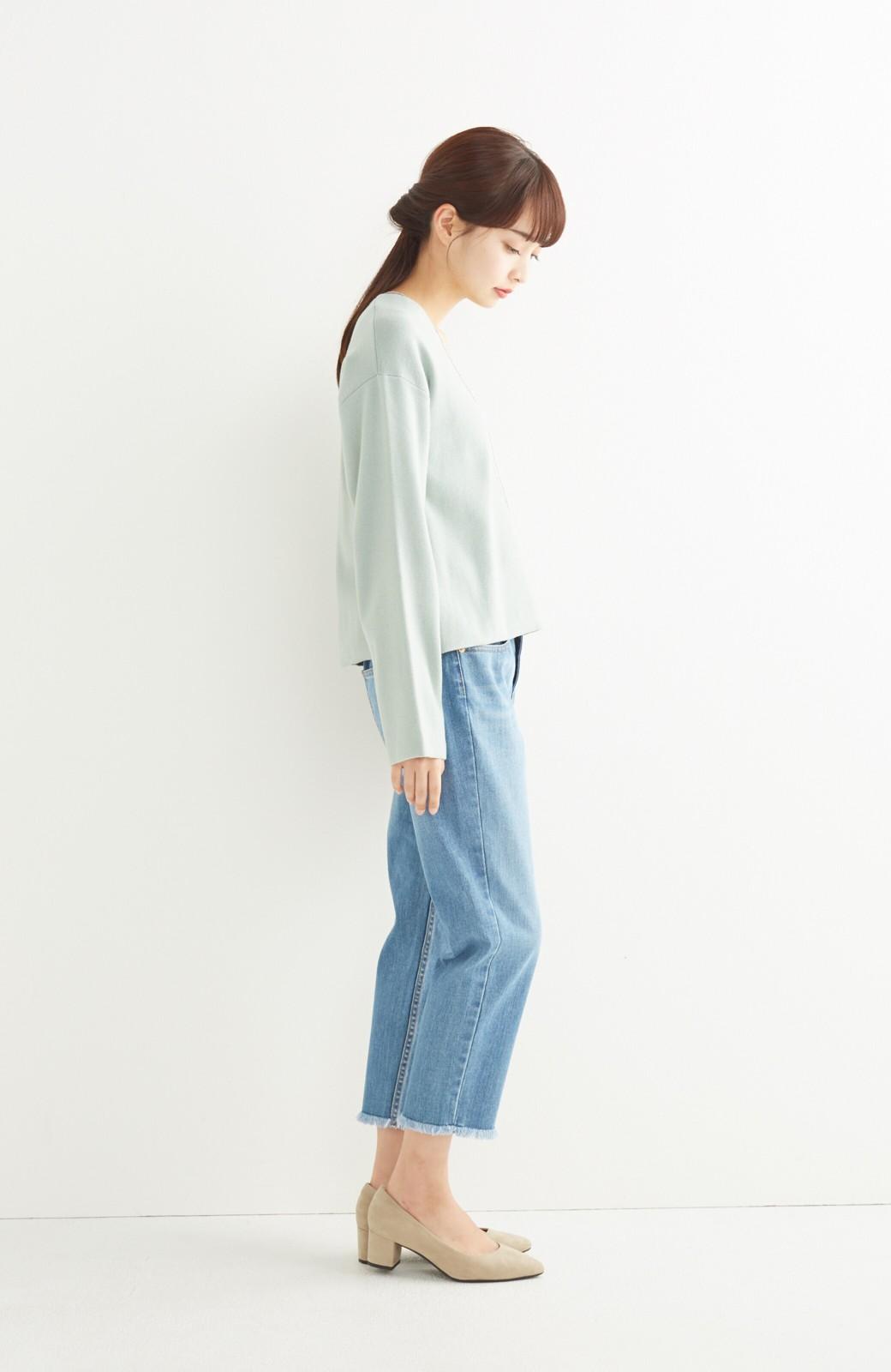 エムトロワ パッと着るだけでいい感じになれる きちんと見えて長い季節使えるミラノリブニット <ミント>の商品写真5