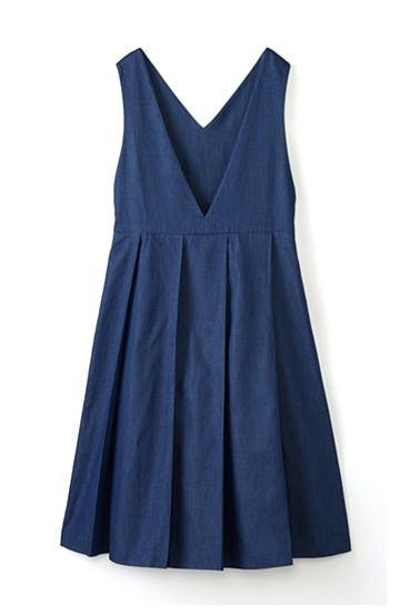 nusy やわらか麻混デニム素材のビッグプリーツジャンパースカート <インディゴブルー>の商品写真