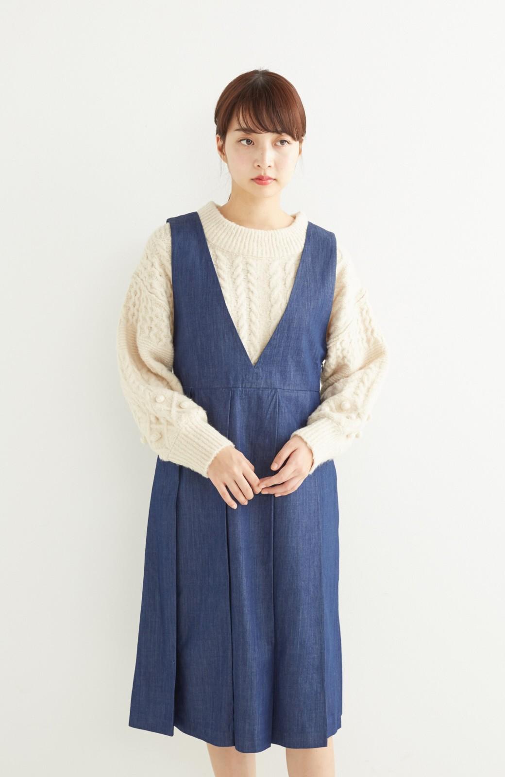 nusy やわらか麻混デニム素材のビッグプリーツジャンパースカート <インディゴブルー>の商品写真9