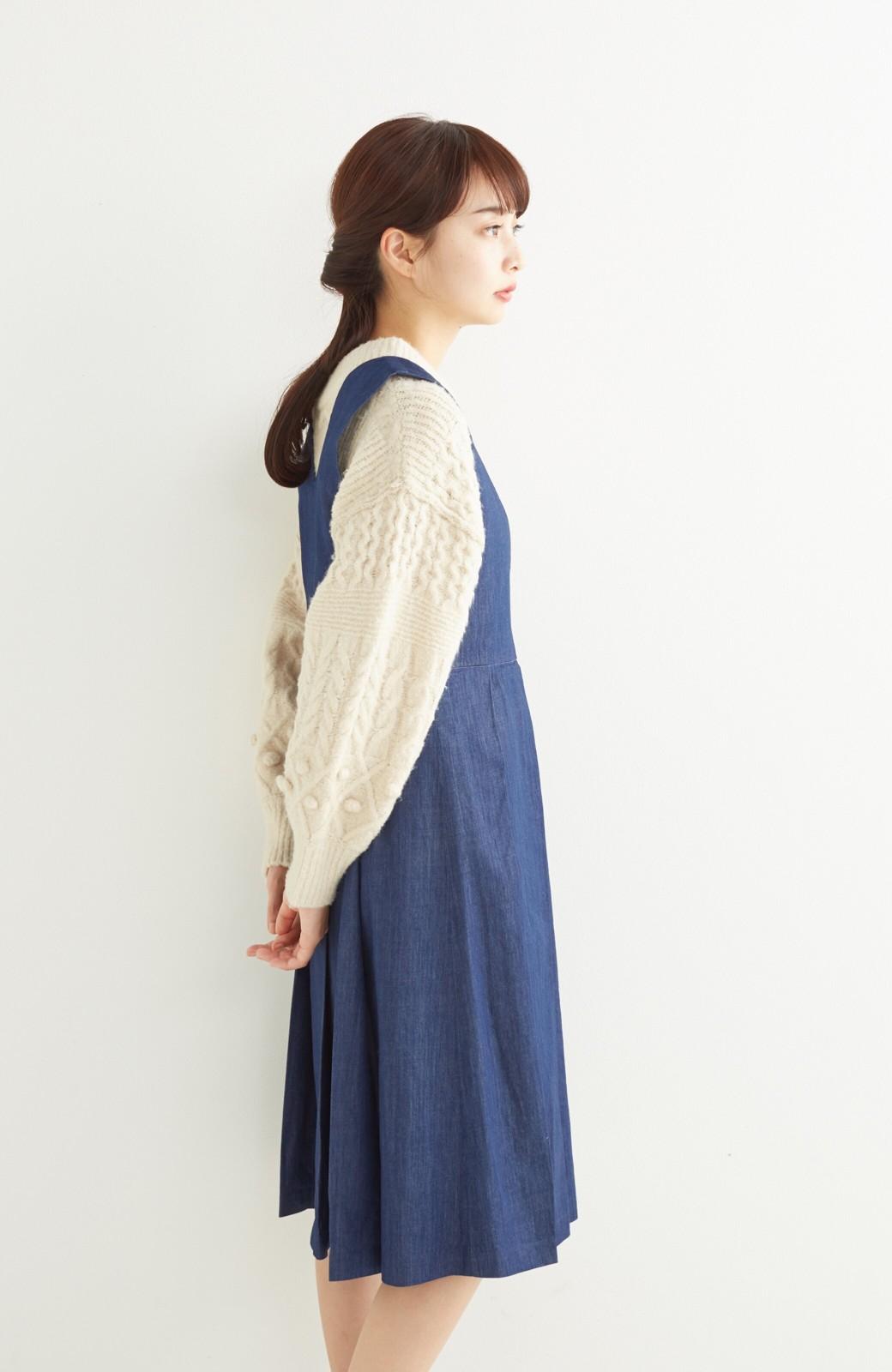 nusy やわらか麻混デニム素材のビッグプリーツジャンパースカート <インディゴブルー>の商品写真10