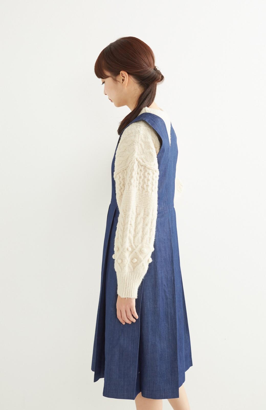 nusy やわらか麻混デニム素材のビッグプリーツジャンパースカート <インディゴブルー>の商品写真11