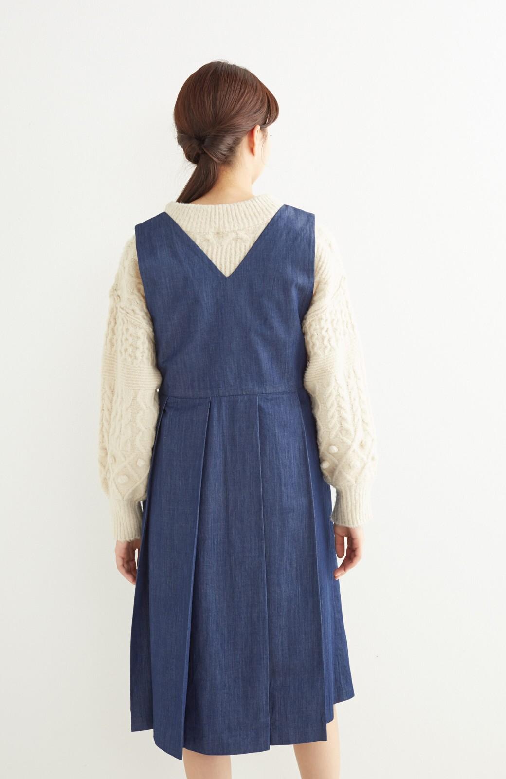 nusy やわらか麻混デニム素材のビッグプリーツジャンパースカート <インディゴブルー>の商品写真12