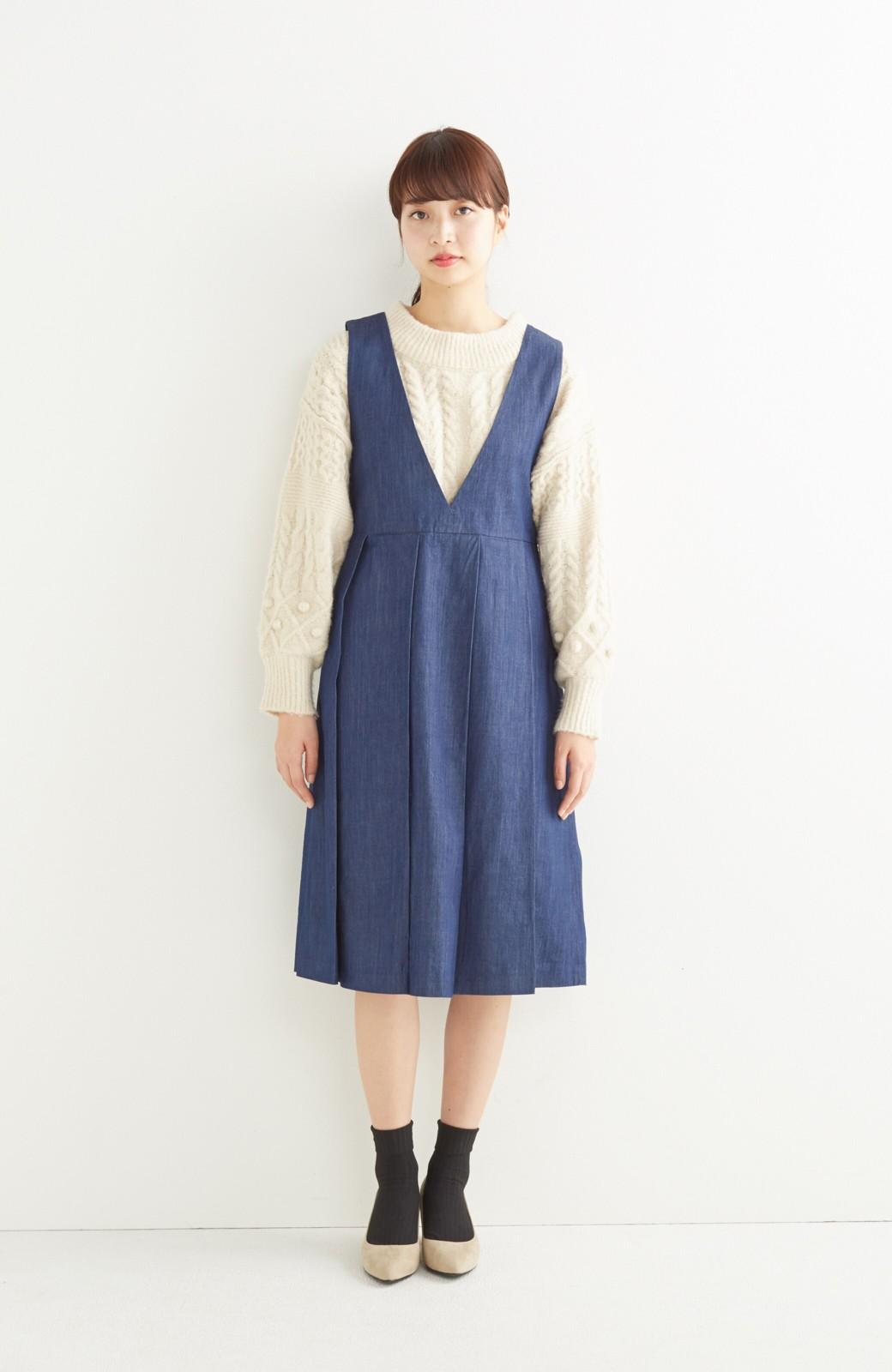 nusy やわらか麻混デニム素材のビッグプリーツジャンパースカート <インディゴブルー>の商品写真3