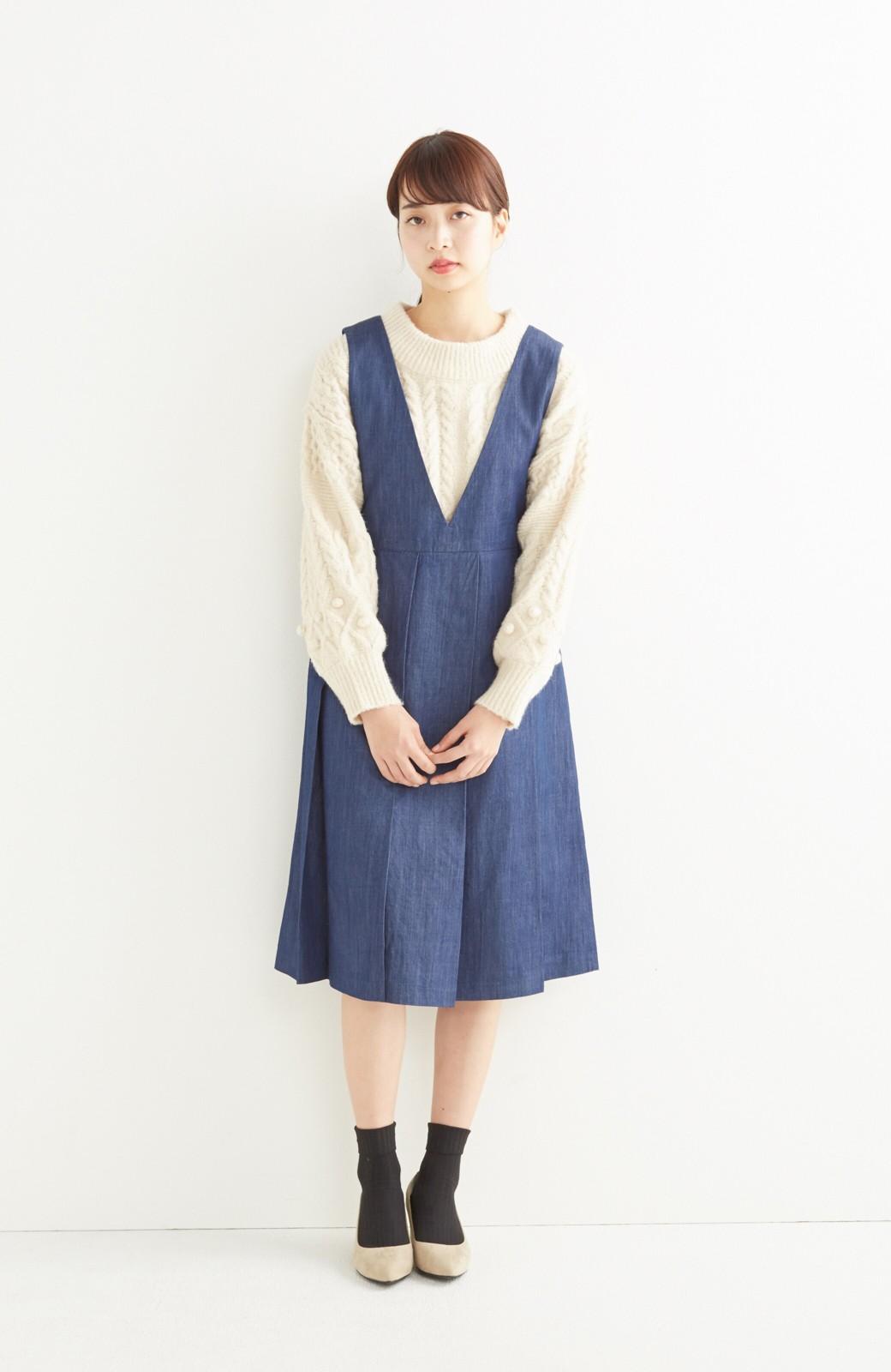 nusy やわらか麻混デニム素材のビッグプリーツジャンパースカート <インディゴブルー>の商品写真4