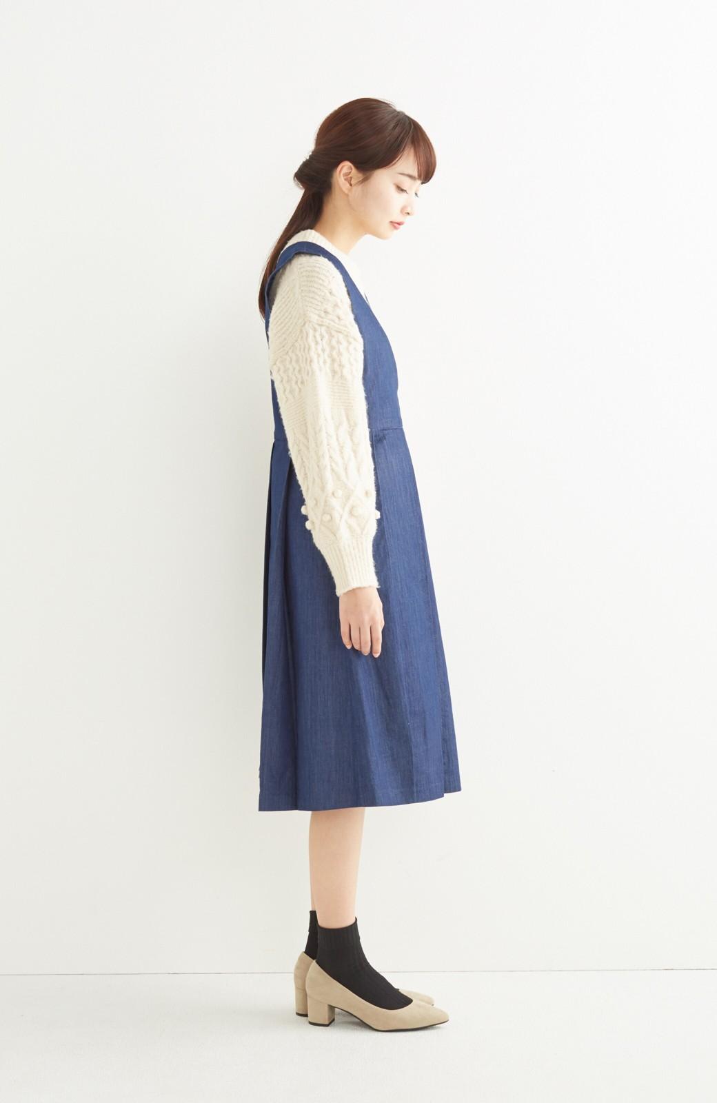 nusy やわらか麻混デニム素材のビッグプリーツジャンパースカート <インディゴブルー>の商品写真6