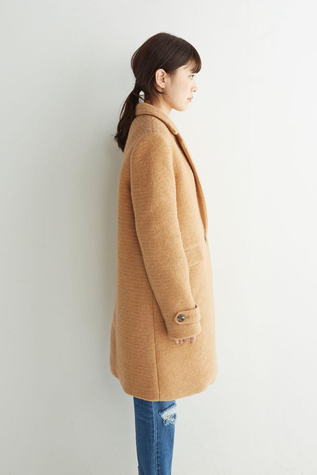 SHE THROUGH SEA イタリア製スライバー素材のチェスターコート <キャメル>の商品写真20
