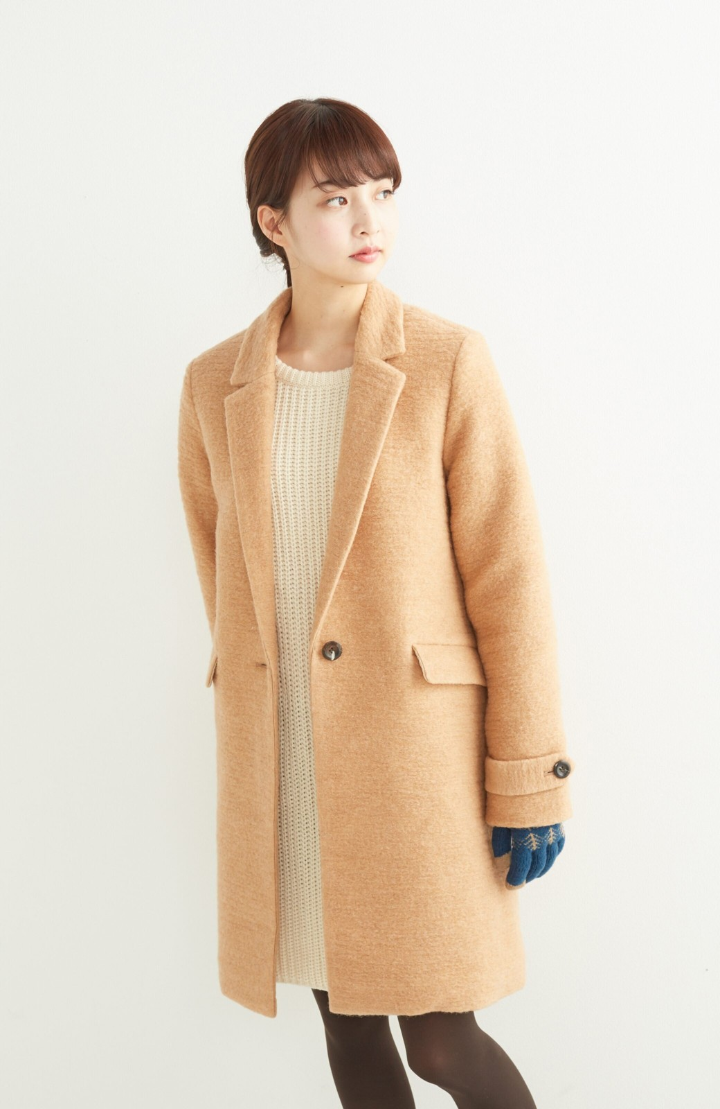 SHE THROUGH SEA イタリア製スライバー素材のチェスターコート <キャメル>の商品写真12