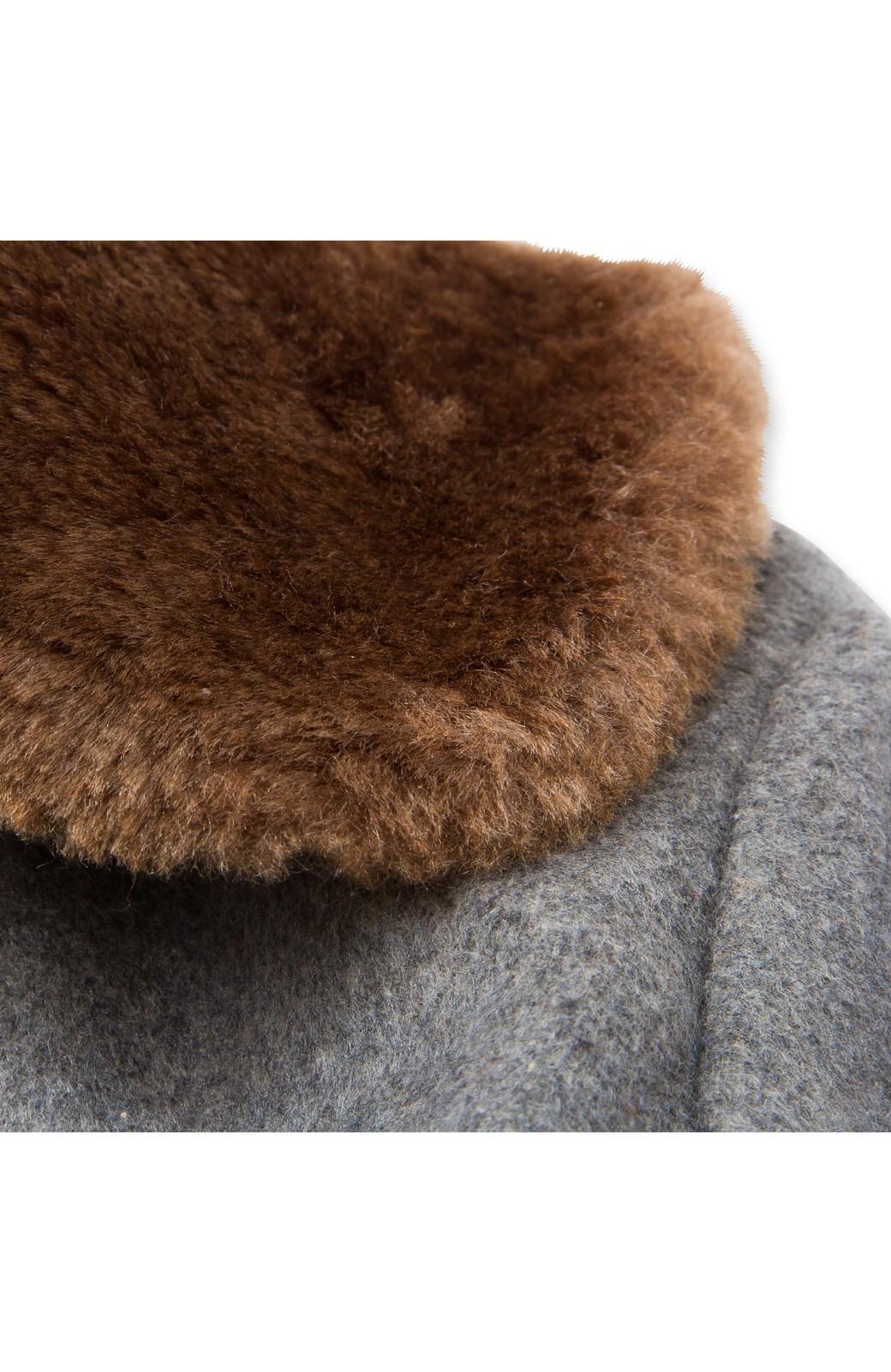 pilvee 取り外しフェイクファー衿付き ウール混のノーカラーコート <グレー>の商品写真4