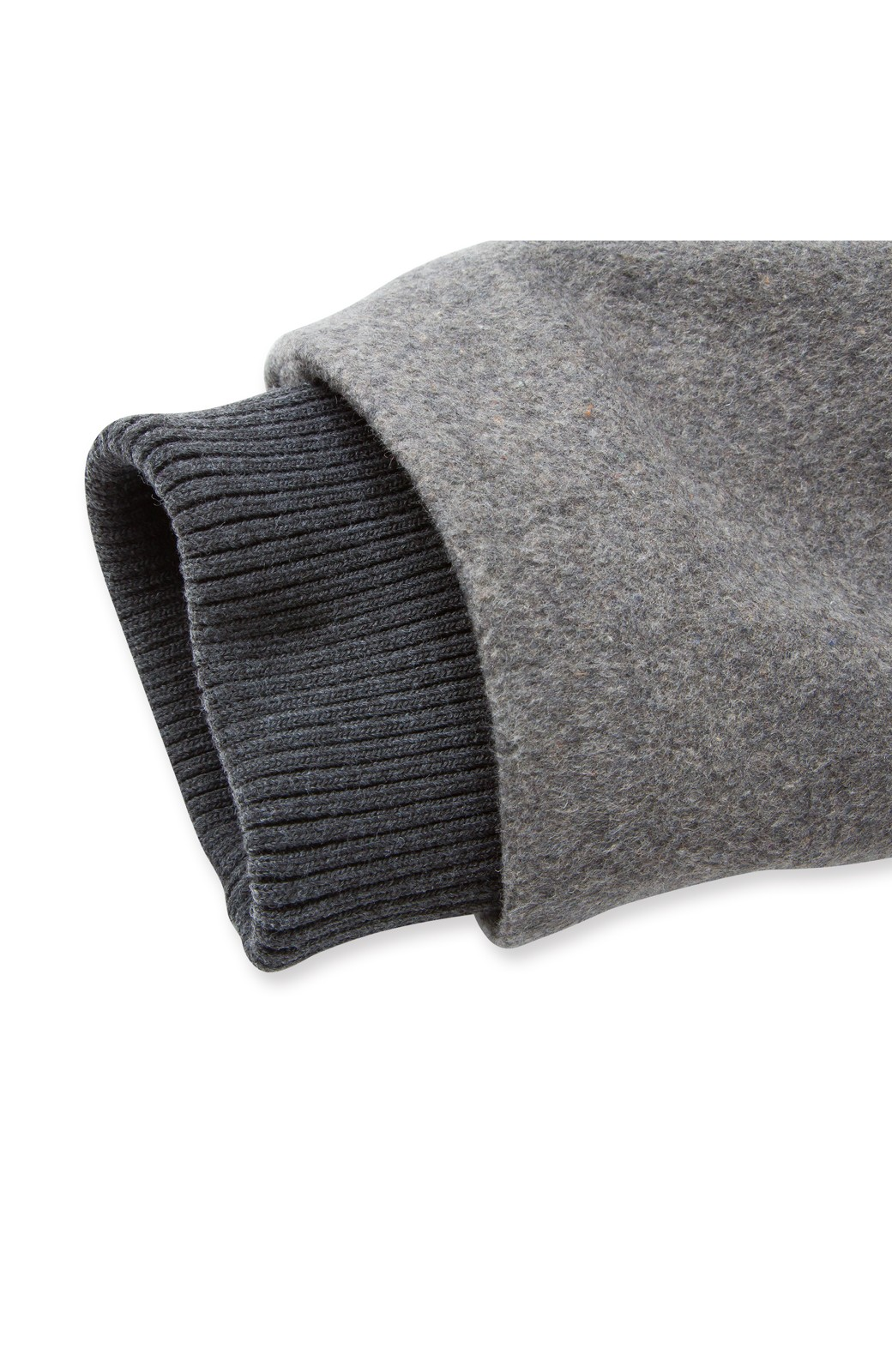 pilvee 取り外しフェイクファー衿付き ウール混のノーカラーコート <グレー>の商品写真5