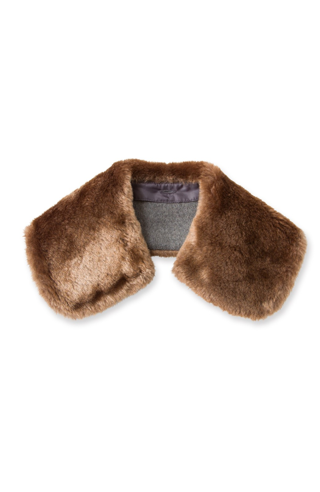 pilvee 取り外しフェイクファー衿付き ウール混のノーカラーコート <グレー>の商品写真6