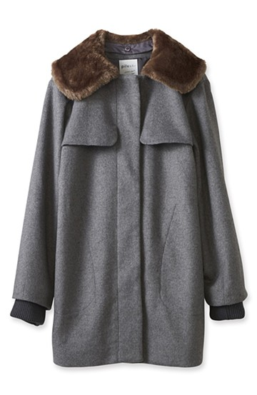 pilvee 取り外しフェイクファー衿付き ウール混のノーカラーコート <グレー>の商品写真