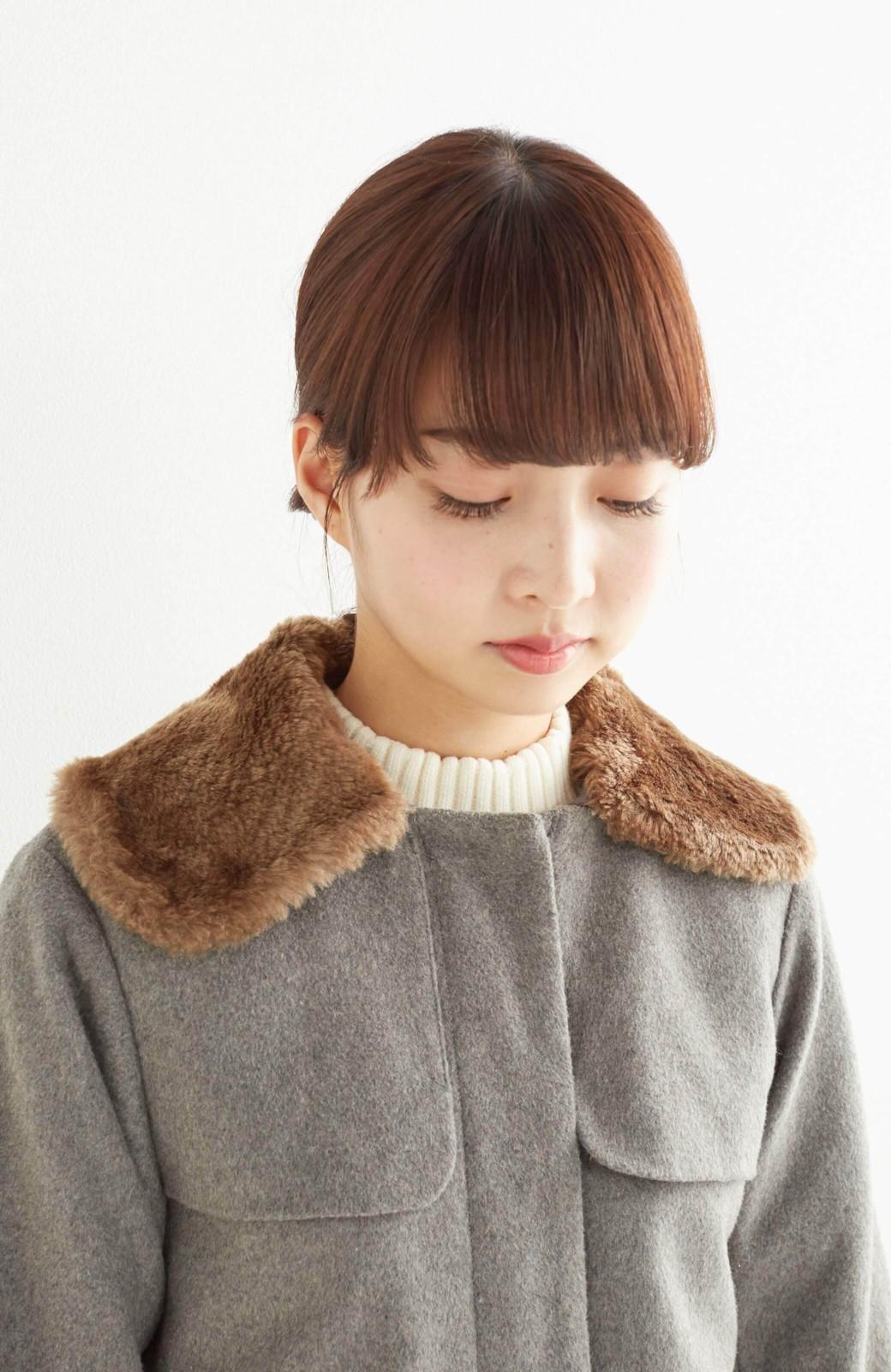 pilvee 取り外しフェイクファー衿付き ウール混のノーカラーコート <グレー>の商品写真20