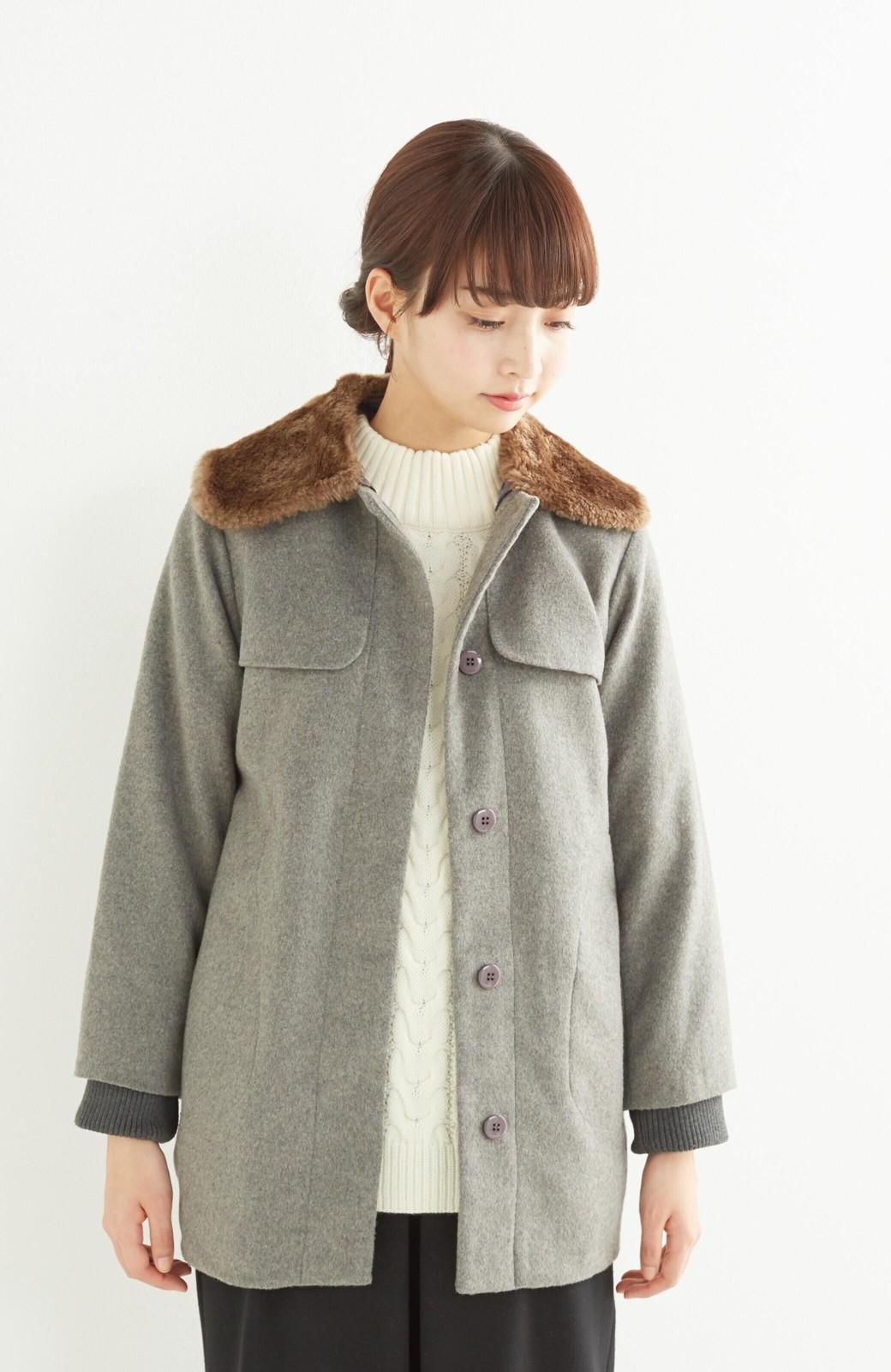 pilvee 取り外しフェイクファー衿付き ウール混のノーカラーコート <グレー>の商品写真13