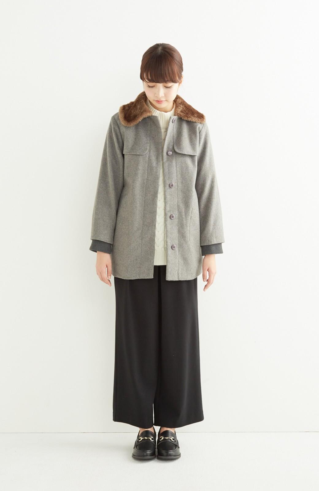 pilvee 取り外しフェイクファー衿付き ウール混のノーカラーコート <グレー>の商品写真7