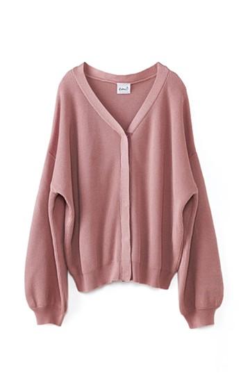 エムトロワ 季節の変わり目の羽織としてもトップスとしても便利なふんわり袖カーディガン <ピンク>の商品写真