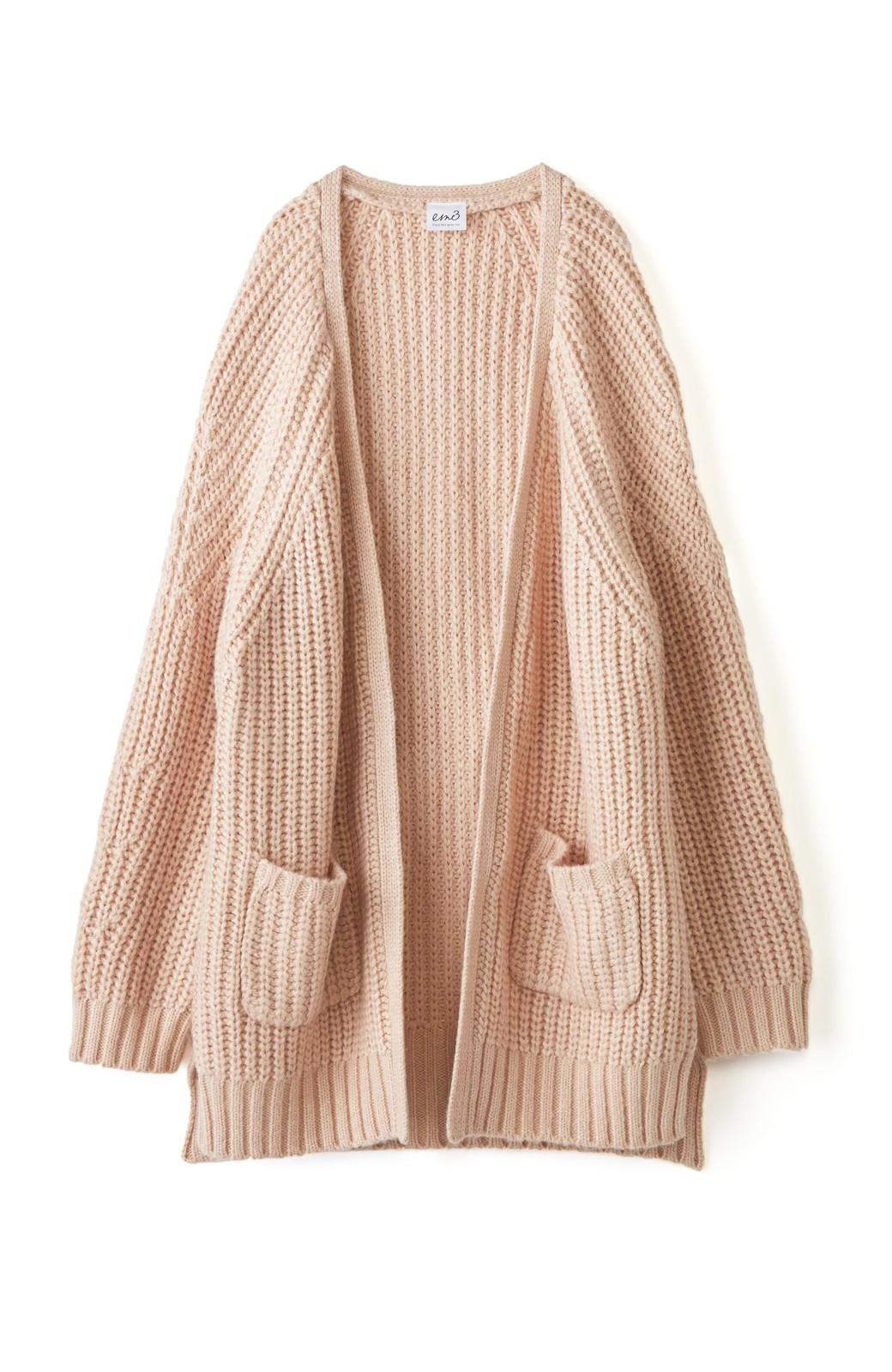 エムトロワ ぱっと羽織るのに便利なざっくり編みカーディガン <ライトベージュ>の商品写真2