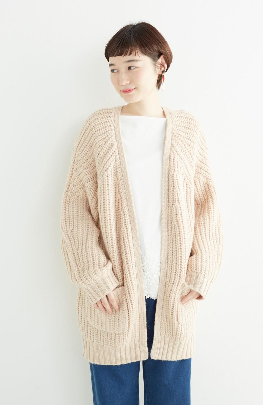 エムトロワ ぱっと羽織るのに便利なざっくり編みカーディガン <ライトベージュ>の商品写真11