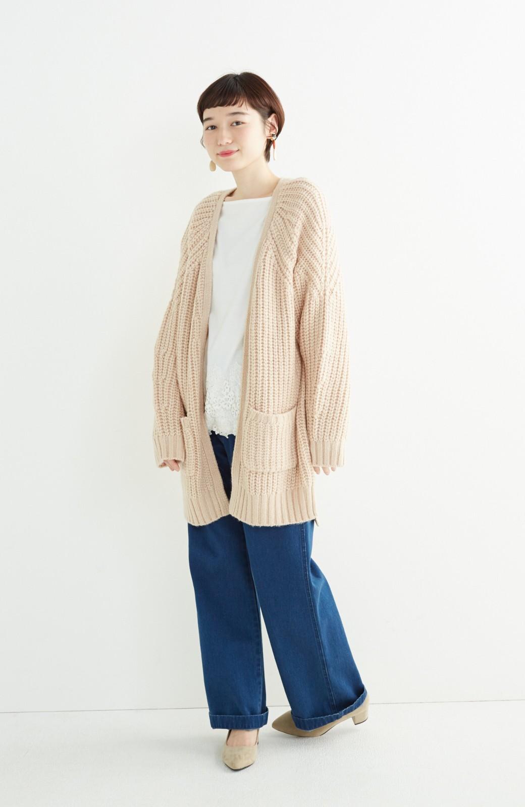 エムトロワ ぱっと羽織るのに便利なざっくり編みカーディガン <ライトベージュ>の商品写真6