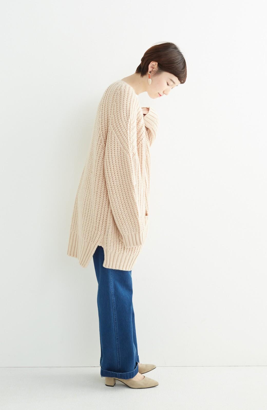 エムトロワ ぱっと羽織るのに便利なざっくり編みカーディガン <ライトベージュ>の商品写真7