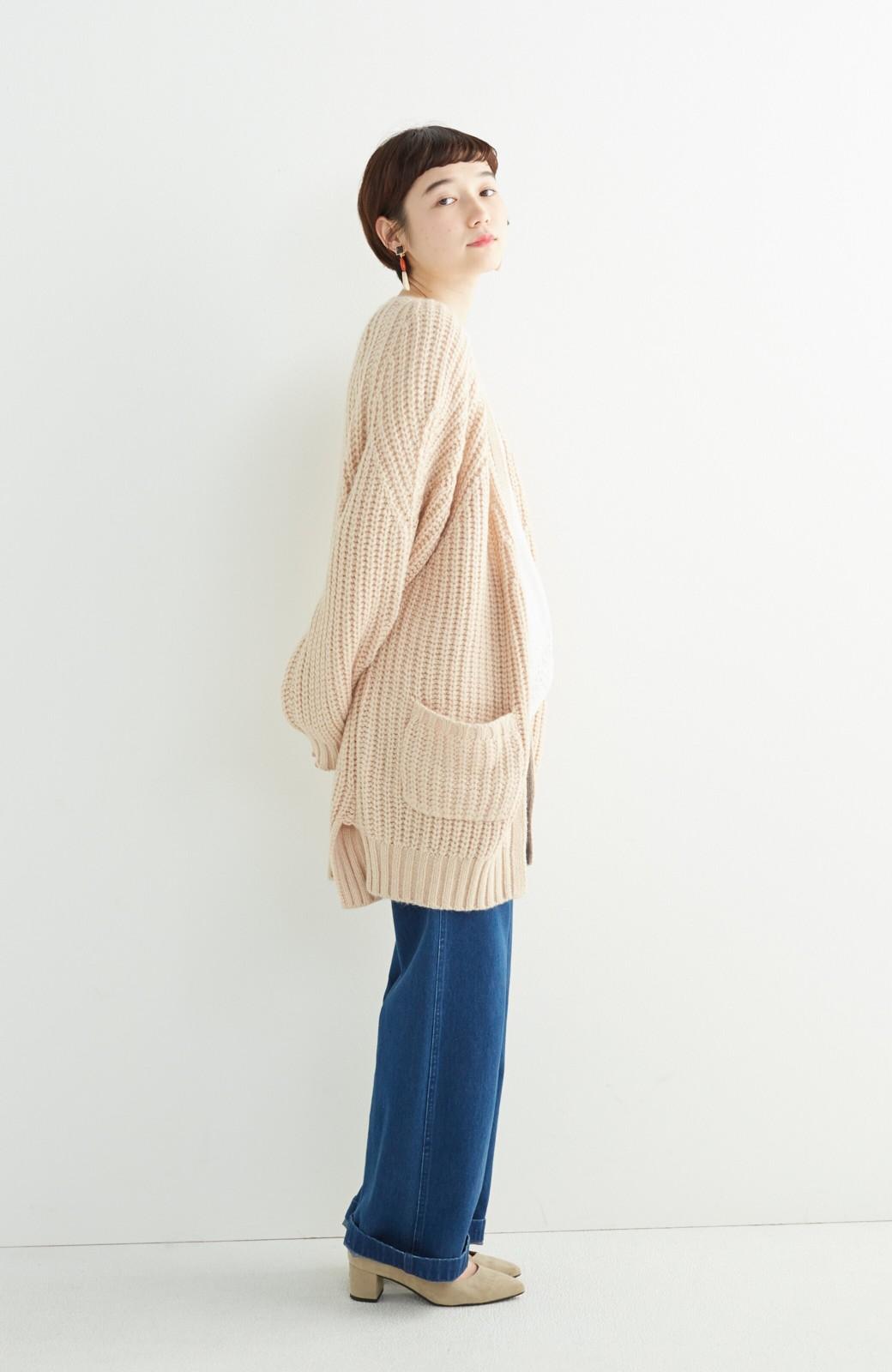 エムトロワ ぱっと羽織るのに便利なざっくり編みカーディガン <ライトベージュ>の商品写真8