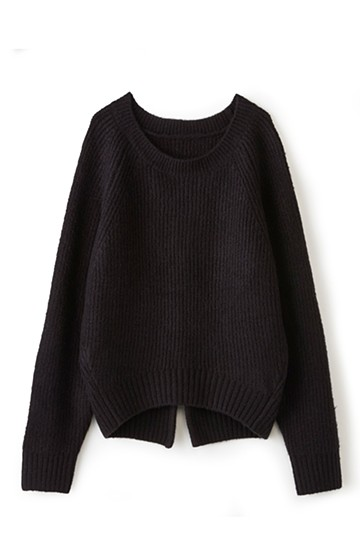 エムトロワ バックスリットがかわいいあぜ編みニット <ブラック>の商品写真