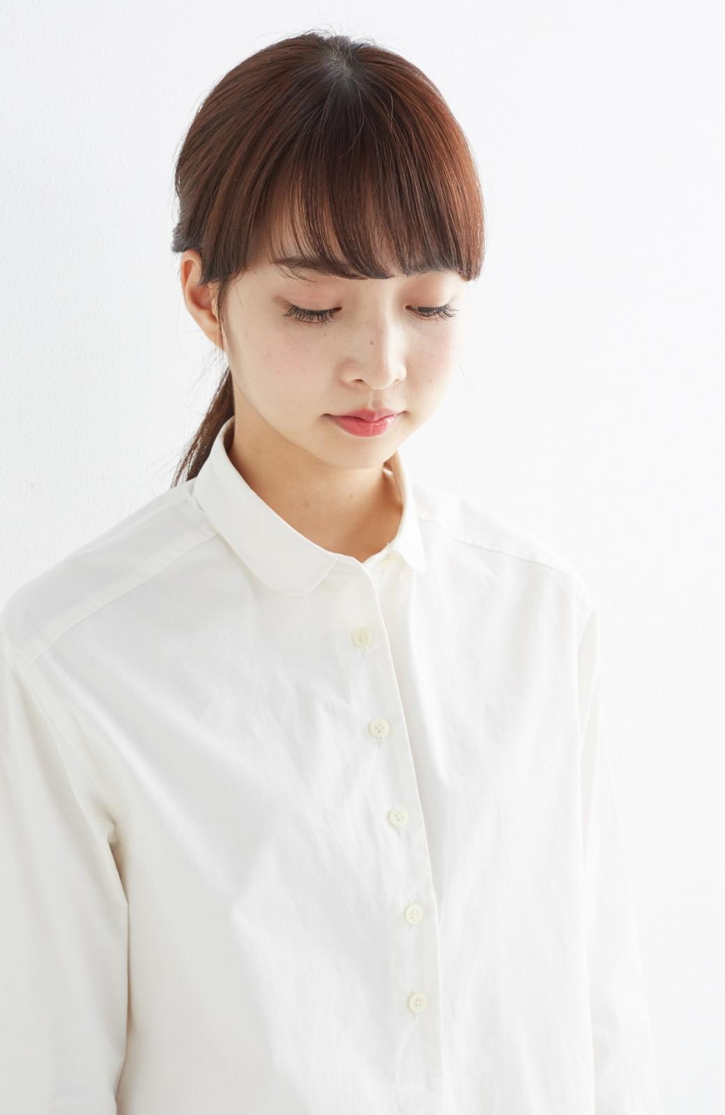 エムトロワ 長い季節使える 重ね着にも便利な丸衿シャツワンピース <ホワイト>の商品写真18