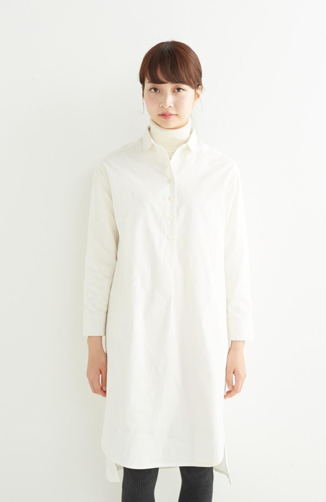 エムトロワ 長い季節使える 重ね着にも便利な丸衿シャツワンピース <ホワイト>の商品写真10
