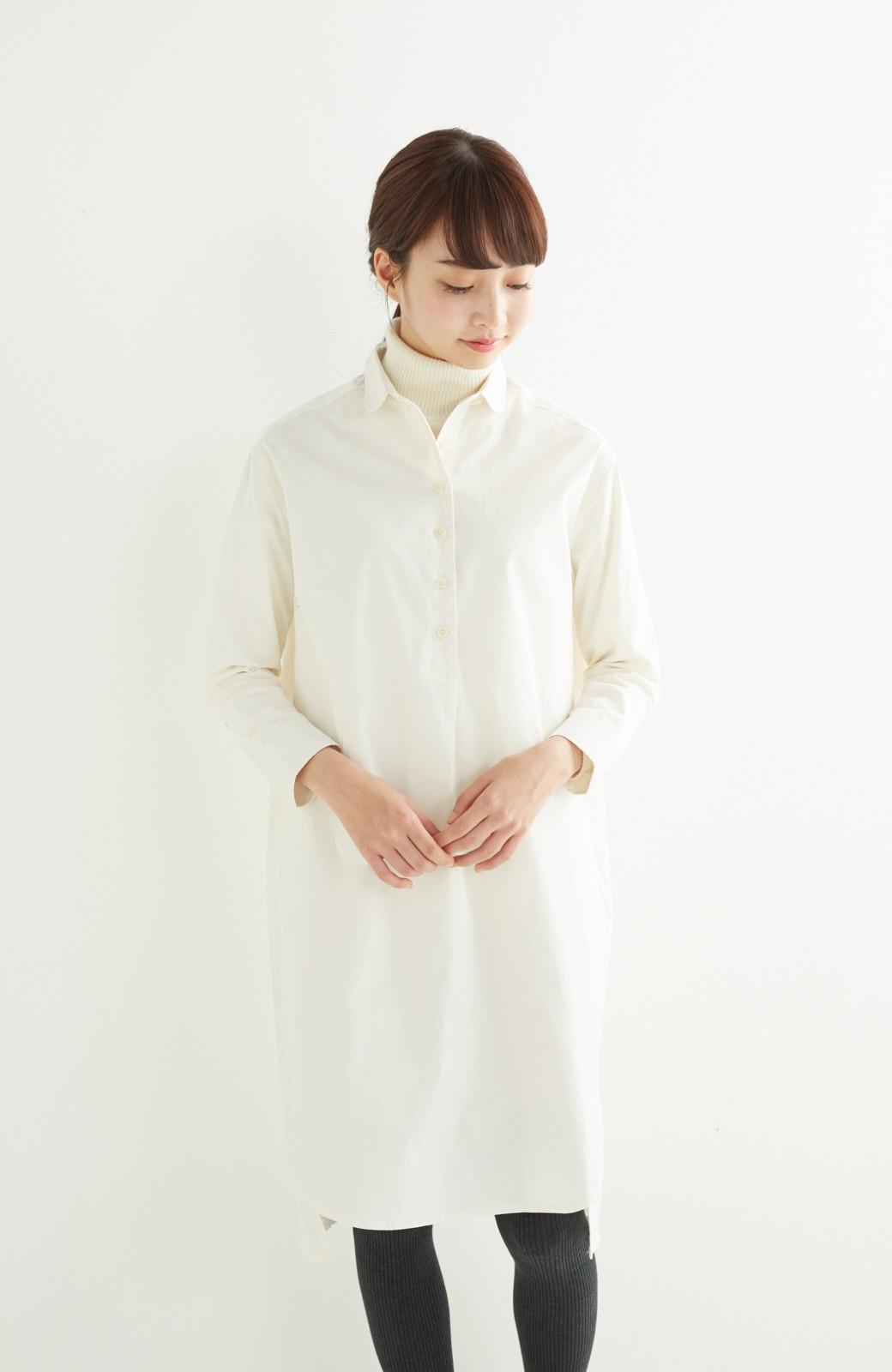 エムトロワ 長い季節使える 重ね着にも便利な丸衿シャツワンピース <ホワイト>の商品写真11
