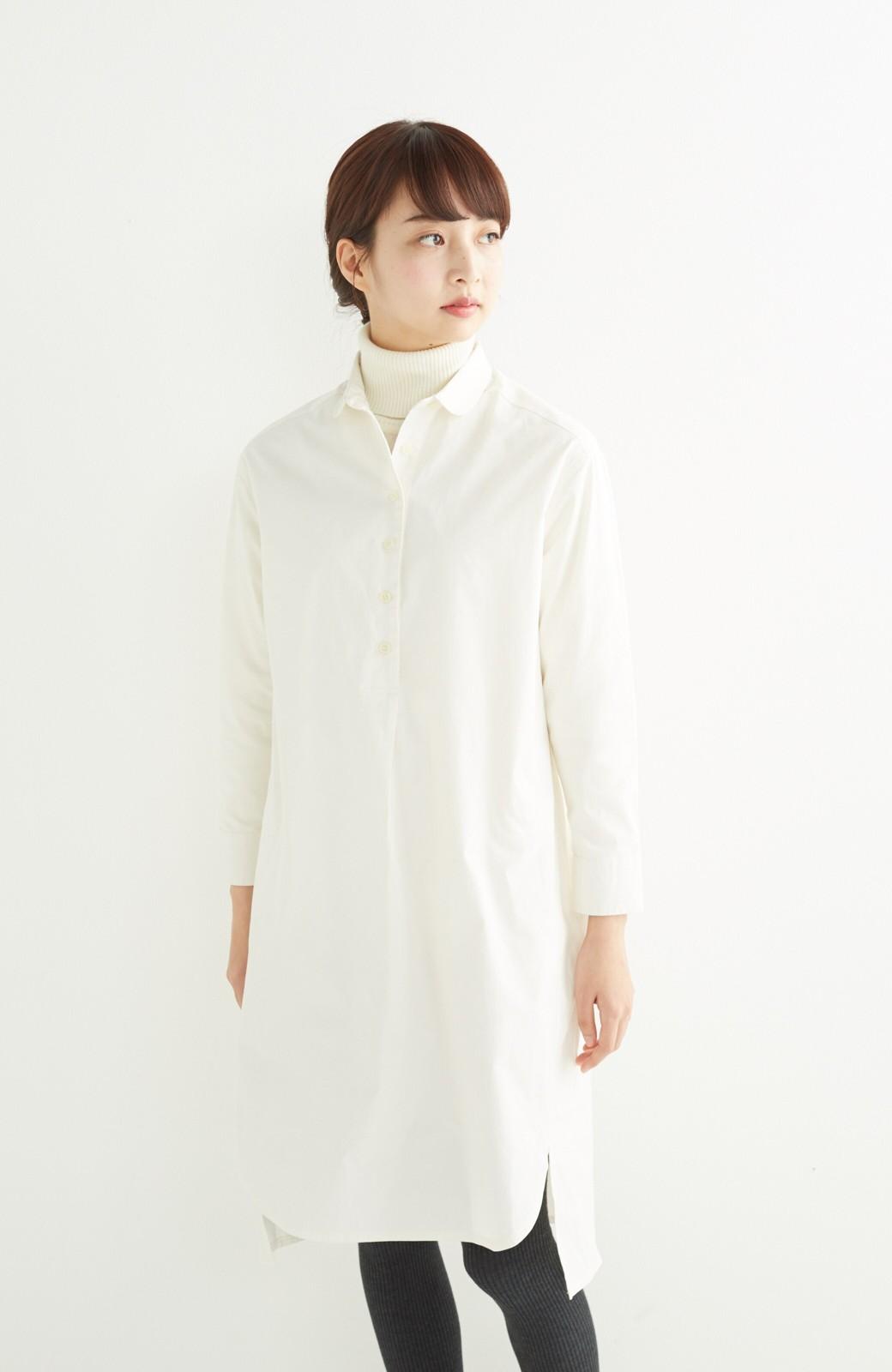 エムトロワ 長い季節使える 重ね着にも便利な丸衿シャツワンピース <ホワイト>の商品写真12