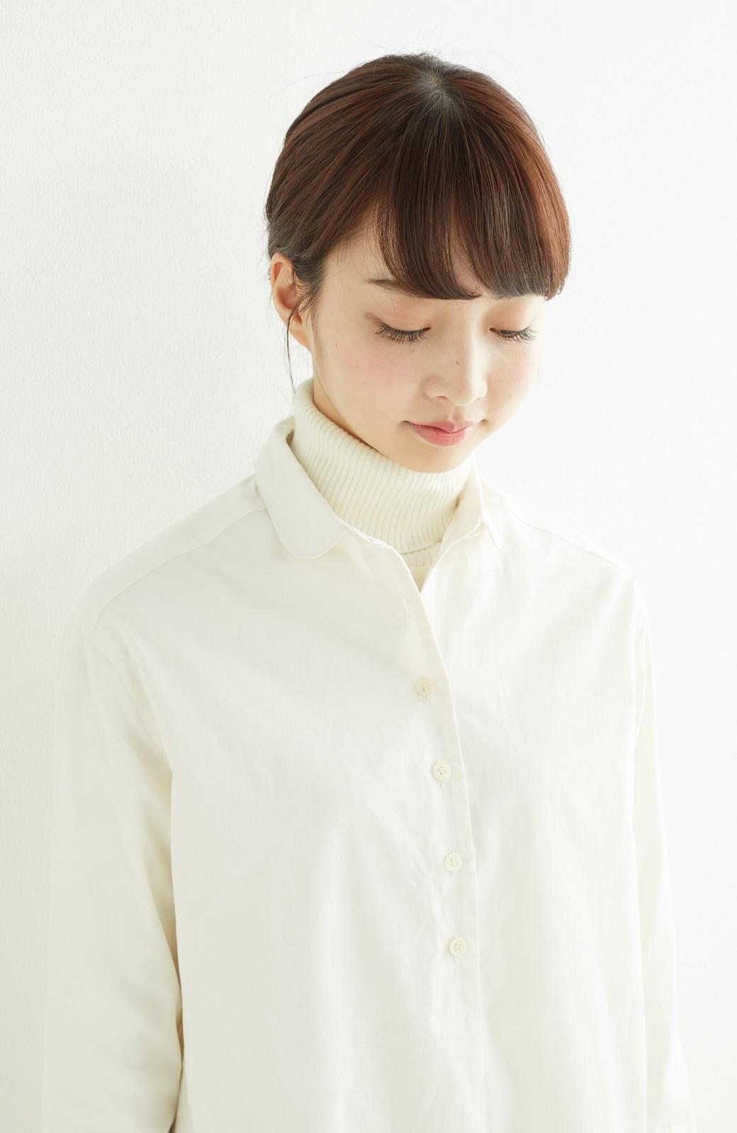 エムトロワ 長い季節使える 重ね着にも便利な丸衿シャツワンピース <ホワイト>の商品写真13