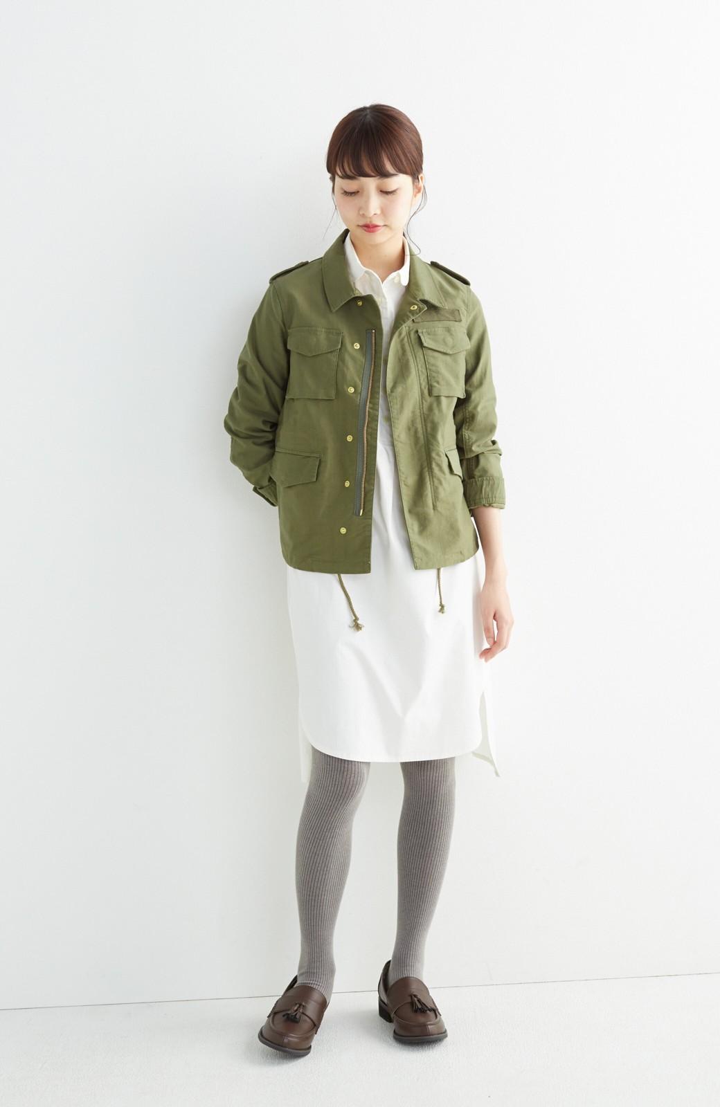エムトロワ 長い季節使える 重ね着にも便利な丸衿シャツワンピース <ホワイト>の商品写真6