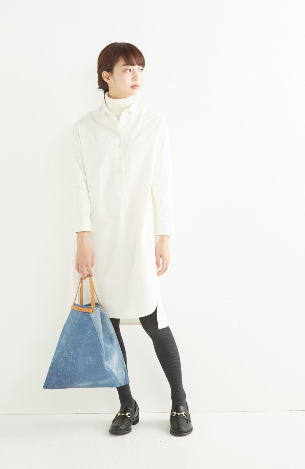 エムトロワ 長い季節使える 重ね着にも便利な丸衿シャツワンピース <ホワイト>の商品写真7