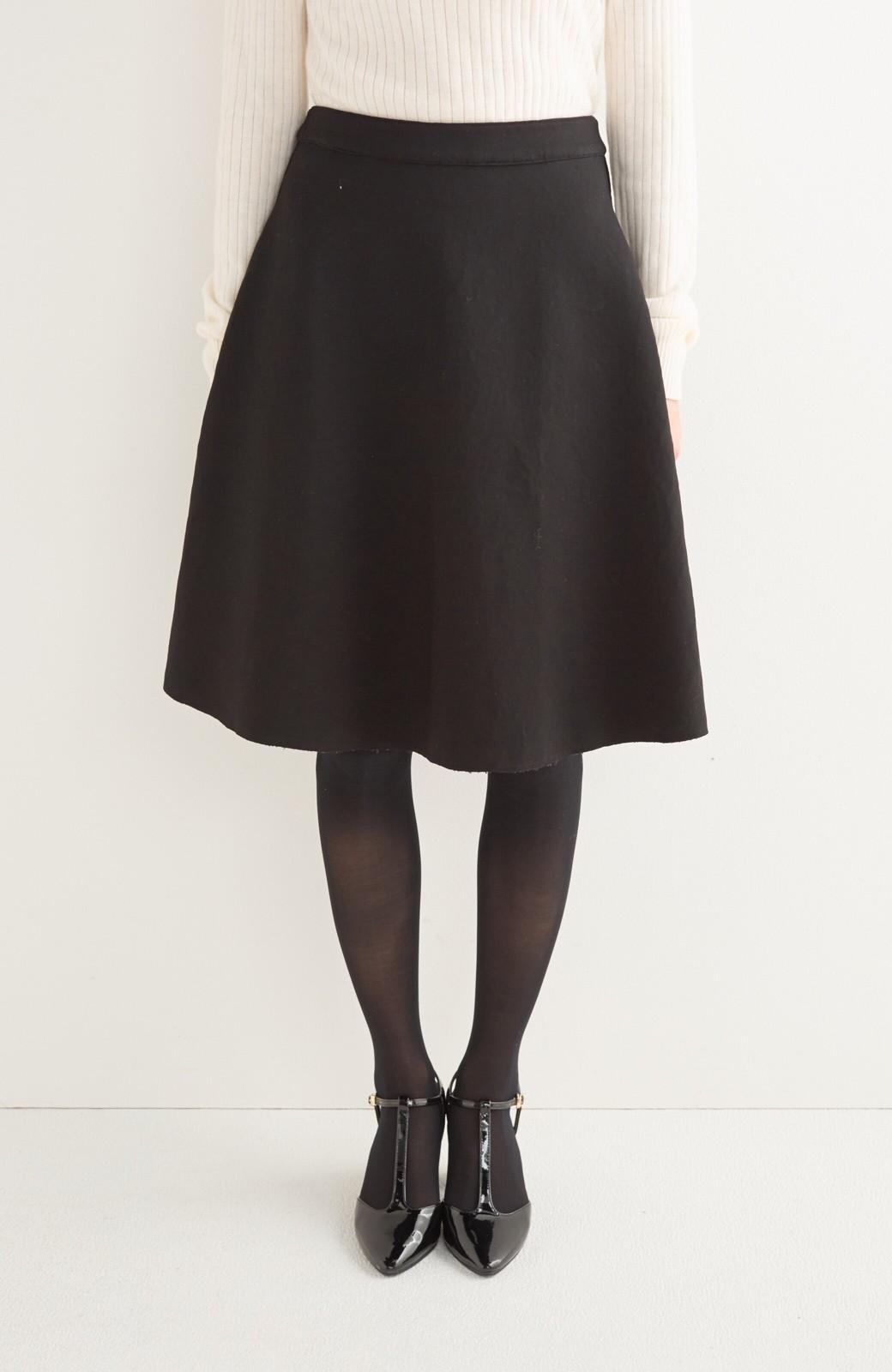 エムトロワ 定番ブラックと華やかレースのリバーシブルフレアースカート <ブラック>の商品写真5