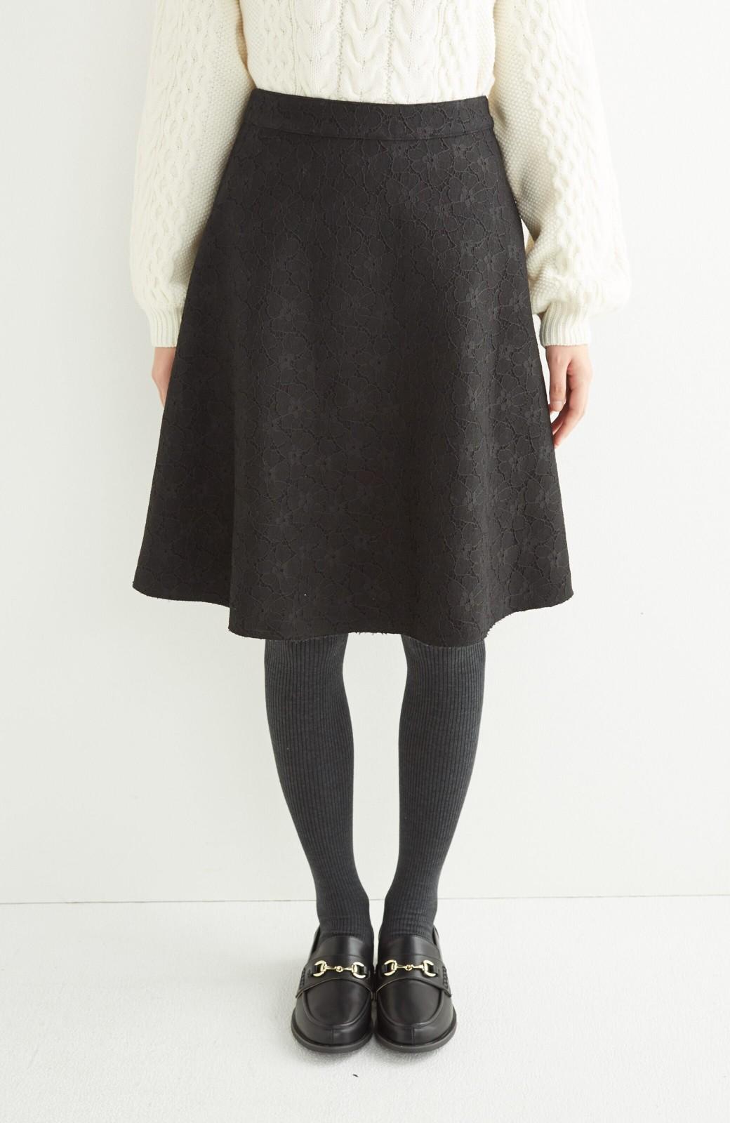 エムトロワ 定番ブラックと華やかレースのリバーシブルフレアースカート <ブラック>の商品写真8