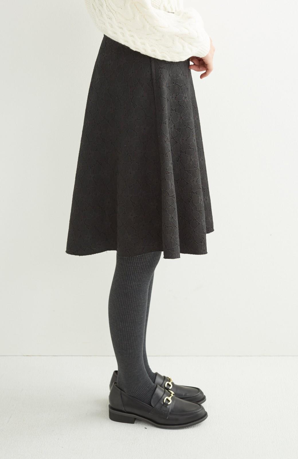 エムトロワ 定番ブラックと華やかレースのリバーシブルフレアースカート <ブラック>の商品写真9